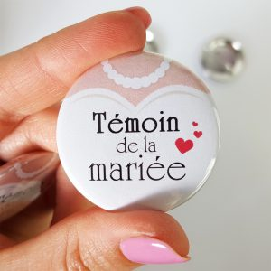 badge temoin de la mariee